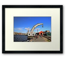 Historical Steam Engine Crane at Bristol Harbor.. Framed Print