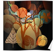 Fractal Abstract Mixed Media art with Leaves and Trees Poster