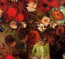Vase with Poppies, Cornflowers, Peonies and Chrysanthemum. Vincent van Gogh.  Sticker