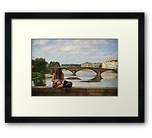The student at the bridge Framed Print