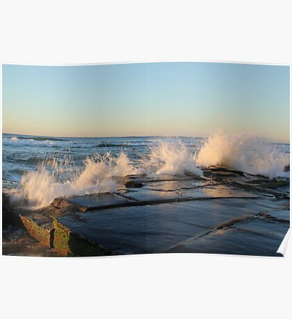 crashing waves at Bar beach Newcastle  Poster