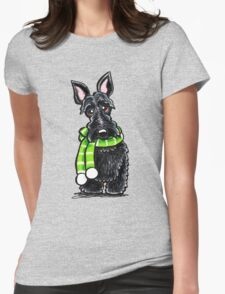 Scottie Happy Winter Scarf Womens Fitted T-Shirt