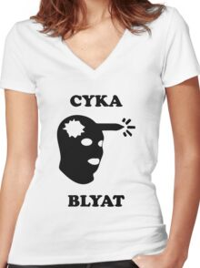 Cyka Blyat Women's Fitted V-Neck T-Shirt