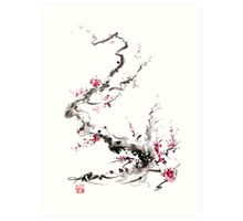 Sakura cherry blossom pink and red flowers tree watercolor original ink painting Art Print