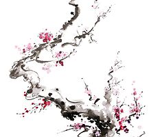 Sakura cherry blossom pink and red flowers tree watercolor original ink painting by Mariusz Szmerdt