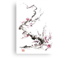 Sakura cherry blossom pink and red flowers tree watercolor original ink painting Metal Print