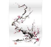 Sakura cherry blossom pink and red flowers tree watercolor original ink painting Poster