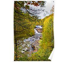Triple Falls in Fall Colors Poster