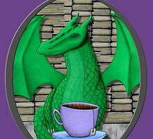 Book Hoarding Green Dragon with Tea by shaneisadragon
