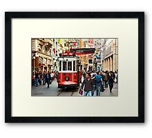 The famous red tram of Istiklal Framed Print