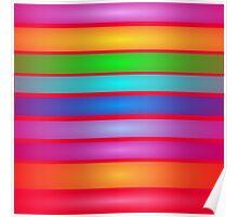 Horizontal Stripes Art Square Red Poster