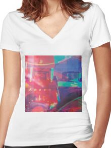 Vintage Camera Art Women's Fitted V-Neck T-Shirt