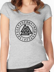 Valknut, Wotans Knot, runes Women's Fitted Scoop T-Shirt