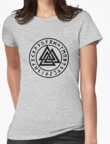 Valknut, Wotans Knot, runes Womens Fitted T-Shirt