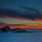 Birubi Beach Rocks at Sunset by bazcelt