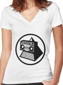 KLF Pyramid Blaster (Black) Women's Fitted V-Neck T-Shirt