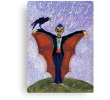 Halloween Funny Batcula with Crow Canvas Print