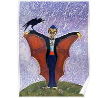 Halloween Funny Batcula with Crow Poster