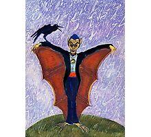 Halloween Funny Batcula with Crow Photographic Print