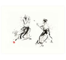 Aikido enso circle martial arts sumi-e original ink painting artwork Art Print