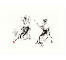 Aikido enso circle martial arts sumi-e original ink painting artwork Art Print