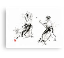 Aikido enso circle martial arts sumi-e original ink painting artwork Canvas Print