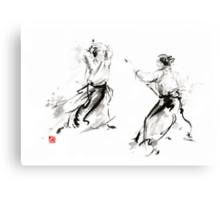 Aikido enso circle martial arts sumi-e original ink painting artwork Canvas Print