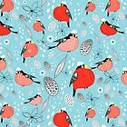 winter pattern of bullfinches by Tanor