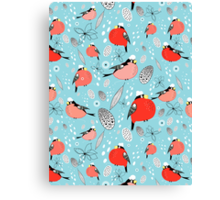 winter pattern of bullfinches Canvas Print
