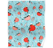winter pattern of bullfinches Poster
