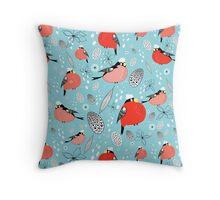 winter pattern of bullfinches Throw Pillow