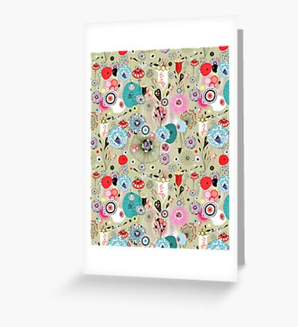 texture of unusual plants and bird lovers Greeting Card