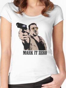 The Big Lebowski Mark It Zero Color Tshirt Women's Fitted Scoop T-Shirt