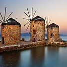 Old windmills of Chios island by Hercules Milas