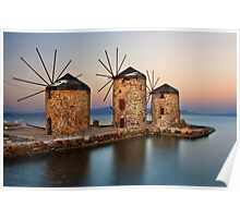 Old windmills of Chios island Poster