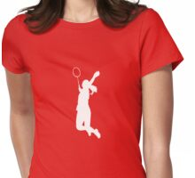 Badminton Player - White Womens Fitted T-Shirt