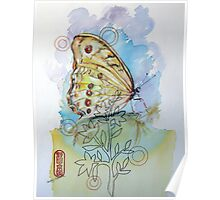 Yellow Butterfly and Sewing Thread Poster