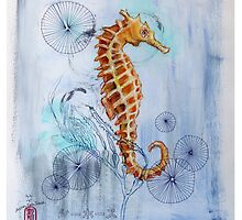 Seahorse with Sewing Thread by Audrey Takeshta