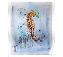 Seahorse with Sewing Thread Poster