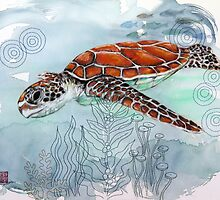 Sea Turtle with Sewing Thread by Audrey Takeshta