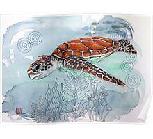 Sea Turtle with Sewing Thread Poster
