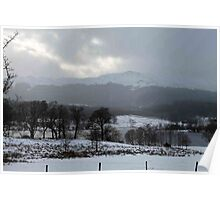 Looking across a wintry Loch Achray in the Trossachs Poster