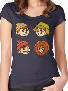 South Park Boys Chibi Heads Women's Fitted Scoop T-Shirt