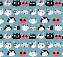 pattern amusing portraits of cats by Tanor