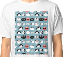 pattern amusing portraits of cats Classic T-Shirt