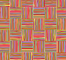 Colorful modern abstract crosshatch pattern  by silvianna