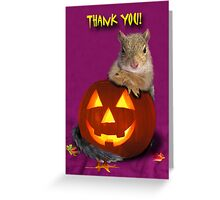 Thank You Halloween Squirrel Greeting Card