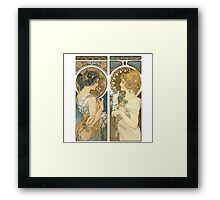 """Primrose and Feather"", by Alphonse Mucha (1899). Framed Print"