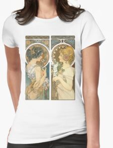"""Primrose and Feather"", by Alphonse Mucha (1899). Womens Fitted T-Shirt"