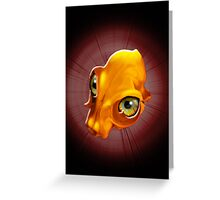 Spooky Yellow Skull with evil Look Greeting Card